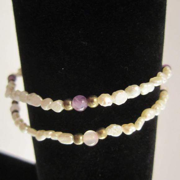 Jewelry - 2 Freshwater Pearl Bracelets Amethyst Rose Quartz
